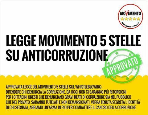 whistleblowing Movimento 5 stelle